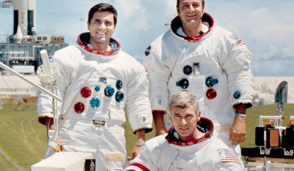 The Apollo 17 crew. Clockwise from left: Lunar Module Pilot Harrison Schmitt, Command Module Pilot Ronald Evans, Commander Eugene Cernan.