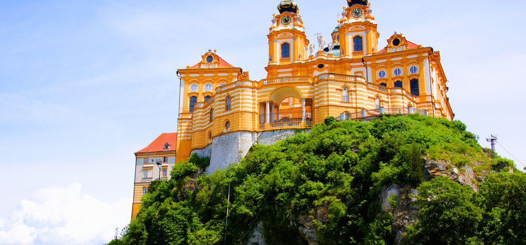 Historic Melk Abbey, overlooking the Danube River, Austria