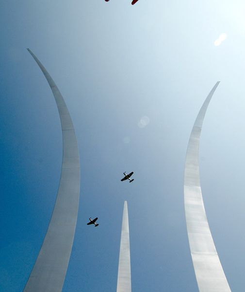 A Heritage Flight over the Air Force Memorial remembers the fallen.