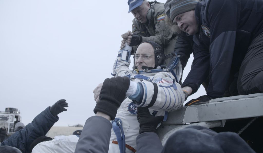 Kelly emerges from the Soyuz TMA-18M capsule that ferried him and two cosmonauts from the International Space Station to Kazakhstan, March 2016.