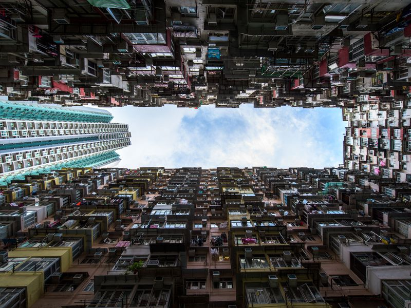This is a shot of Montane Mansion in Hong Kong that shows the extraordinary living conditions in old parts of Hong Kong