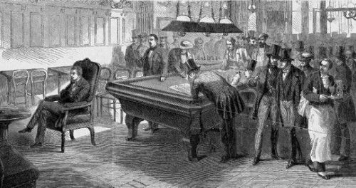 """Paul Morphy playing """"blindfold"""" chess in Paris, 1858"""