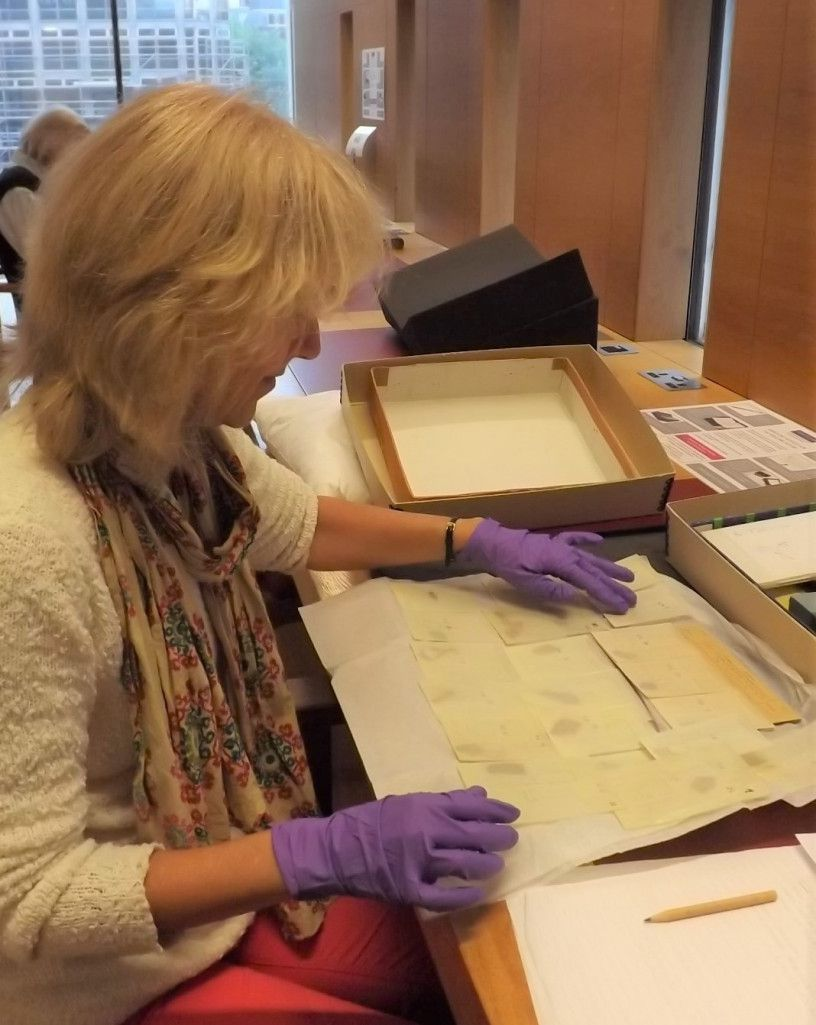 Joan Taylor examining the Dead Sea Scrolls fragments