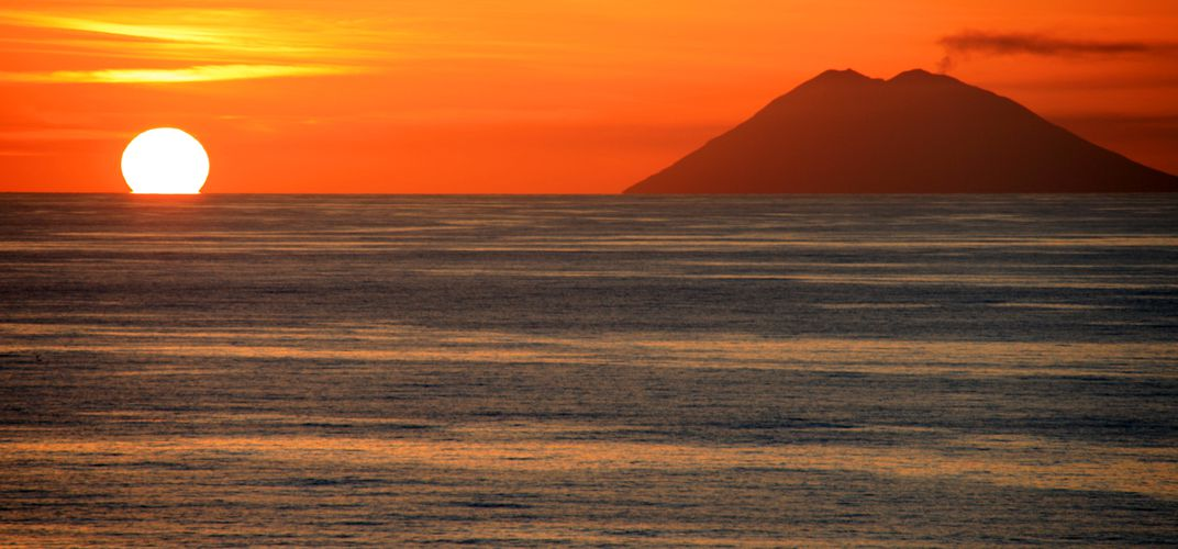 The World Heritage site of Stromboli, among the Aeolian Islands