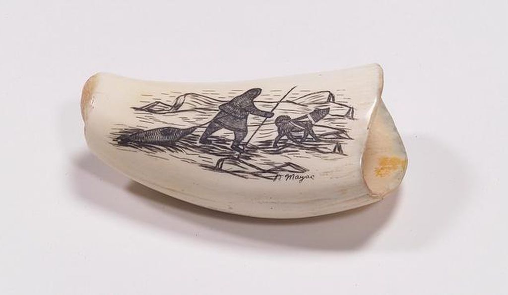A contemporary paperweight by a Iñupiat artist made of whale tooth.