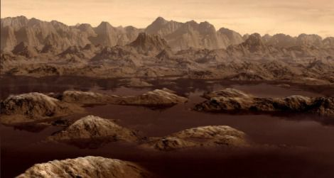 Artist's rendition of a ethane lake on Titan.