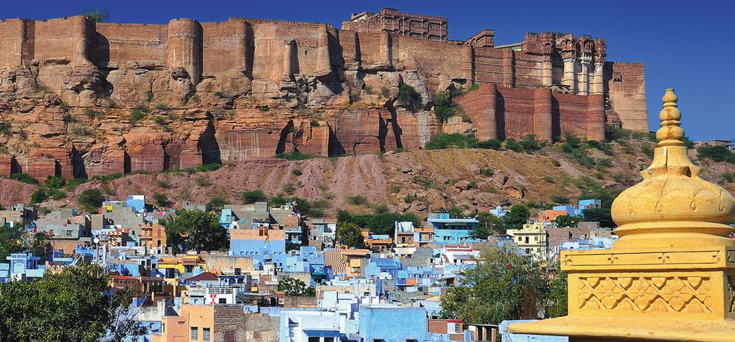 Mehrangarh Fort, overlooking the blue city of Jodhphur