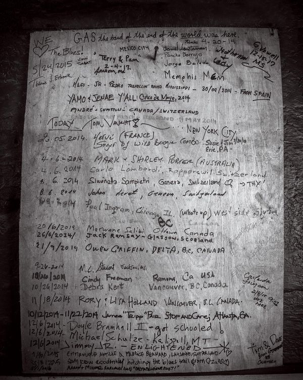 plywood sheet at Blue Front Cafe