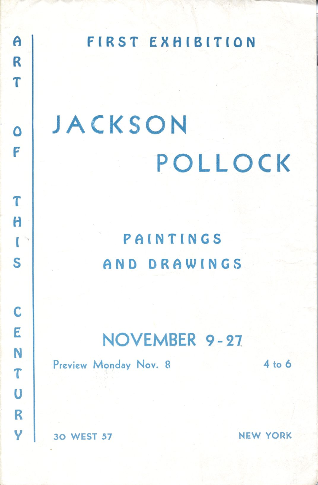 Catalog of Jackson Pollock exhibition at Betty Parsons Gallery