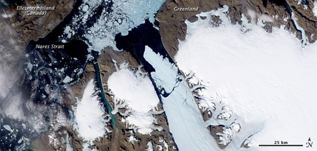 An island of ice breaking away