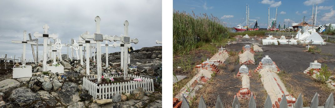 Gravestones in Greenland next to tombs in Louisiana