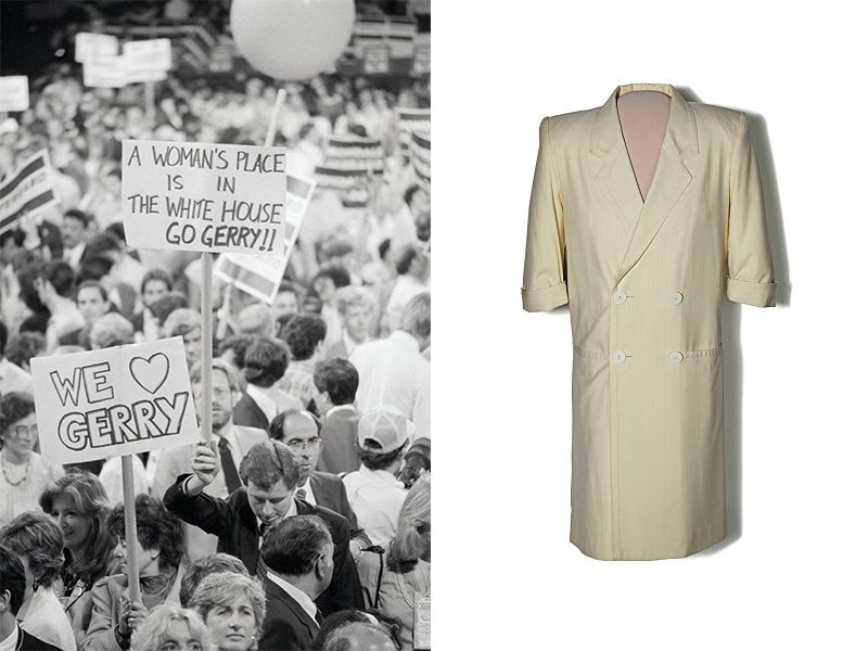 We heart Gerry and a Woman's Place is in the White House signs, as well as a coatdress Ferraro wore to the DCC