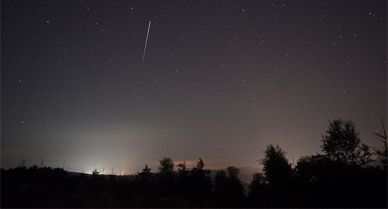 The bright streak shows the ISS passing over Germany.