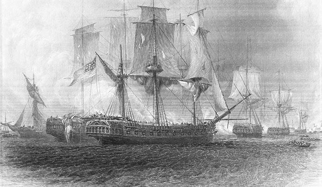 An engraving depicting the ripped sails of U.S. navy ships following the Battle of Plattsburg Bay. Despite their appearance, the Americans emerged victorious, and Plattsburg became a turning point in the war.