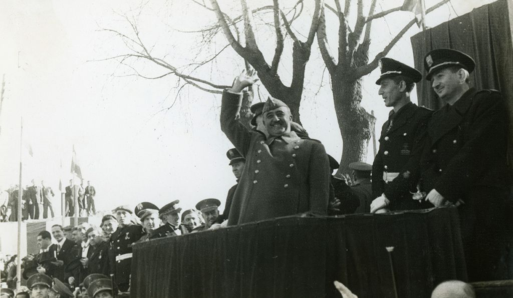Dictator Francisco Franco visits Barcelona in 1942 during the brutal first years of his regime.