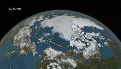 The 2016 Arctic sea ice summertime minimum, reached on Sept. 10, is 911,000 square miles below the 1981-2010 average minimum sea ice extent, shown here as a gold line (NASA Goddard's Scientific Visualization Studio/C. Starr).