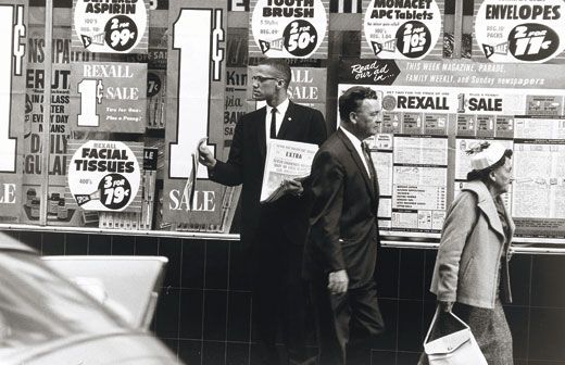 Malcolm X (in New York City in 1962 publicizing alleged police brutality) continued the fight (Gordon Parks/ NPG, SI)