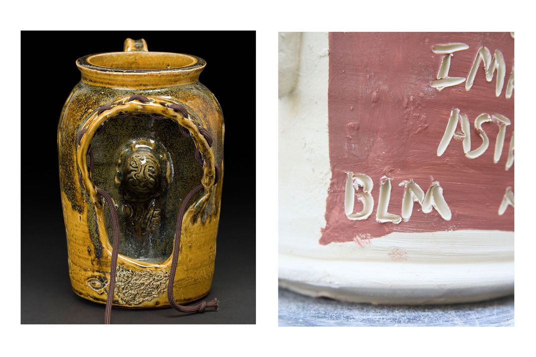 Left: Yellow glazed ceramic jug with a cutout in the side, resembling the hood of a sweatshirt. Inside, carved in the inner wall of the jug, is the face of a boy. Brown cloth pullstrings come out of the hoodie shape. Right: Closeup on a white ceramic jug.