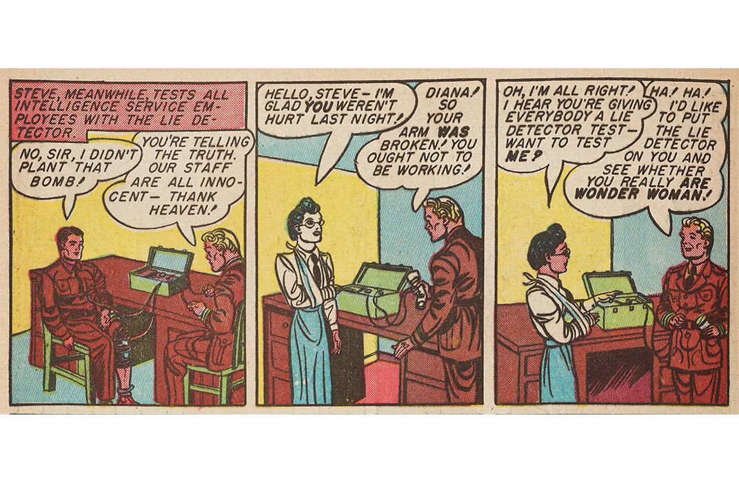 "In ""Victory at Sea,"" from March 1943, Steve Trevor proposes administering a lie detector test to Diana Prince, who was secretly Wonder Woman."