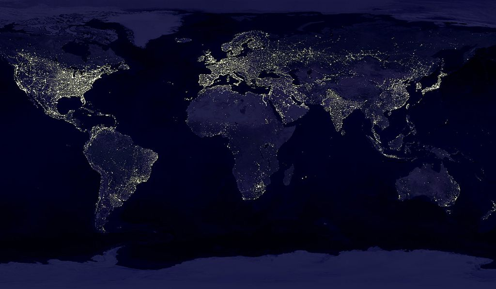 The lights of human civilization as they look from space.