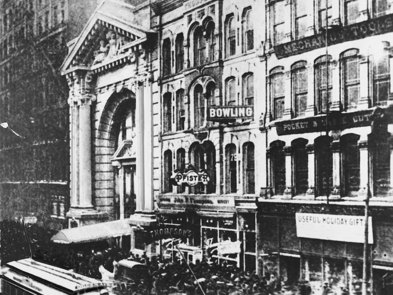Exterior of the Iroquois Theatre, Chicago, Illinois, 1903
