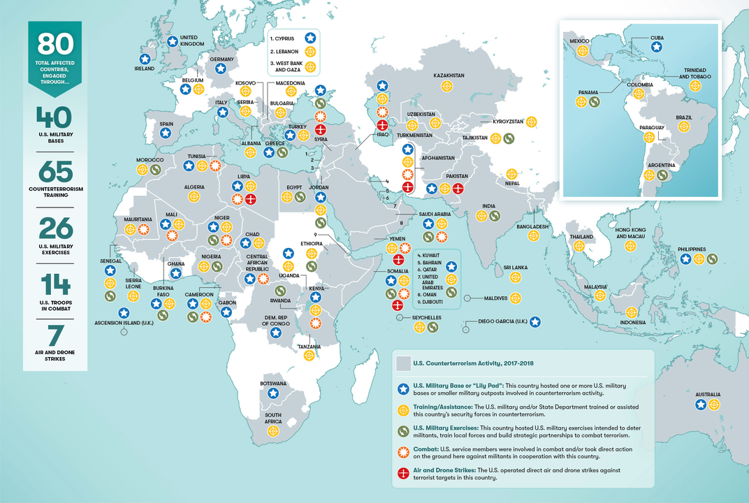 This Map Shows Where In The World The Us Military Is Combatting - Us-map-com
