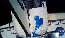 A play of light on space shuttle Discovery.