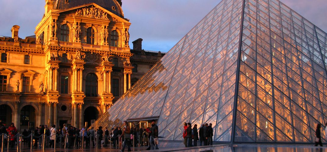 The Louvre's entrance, designed by I.M. Pei