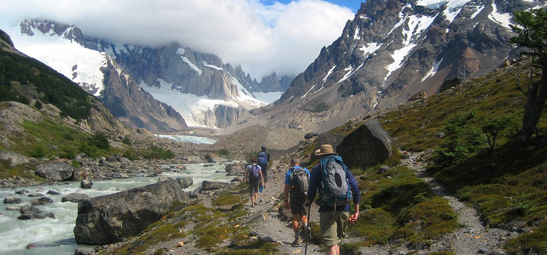 Hiking towards Monte Fitz Roy in Los Glaciares National Park