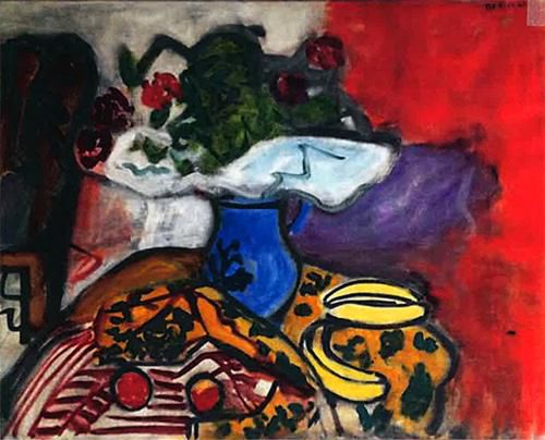 <em>Still Life (Fruit and Flowers on a Table)</em>, 1961. Oil on canvas, 29 x 36 1/4 inches