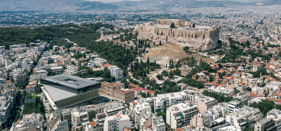 The Acropolis and Acropolis Museum (at left)