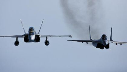 F/A-18D Hornets and Russian-built MiG-29s