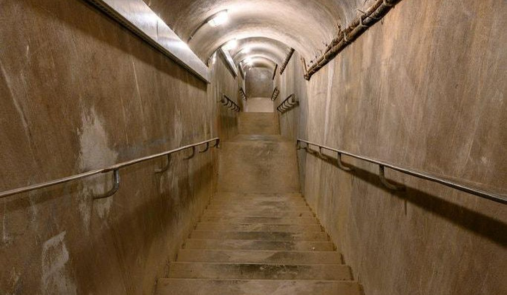 There are 100 steps leading down to the underground bunker