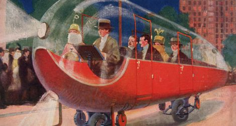 The automobile of 1973 as imagined in 1923 on the cover of Science and Invention magazine