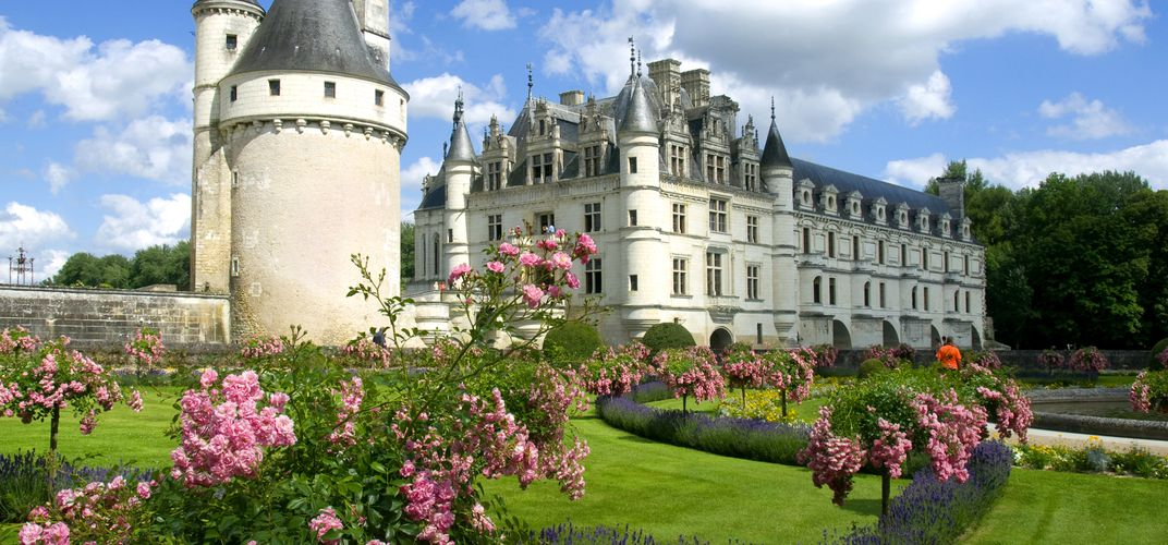 The chateau of Chenonceau in the Loire Valley of France is a Renaissance masterpiece that spans the River Cher and also features formal gardens.