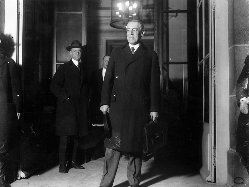 Woodrow Wilson at Paris Peace Conference in January 1919