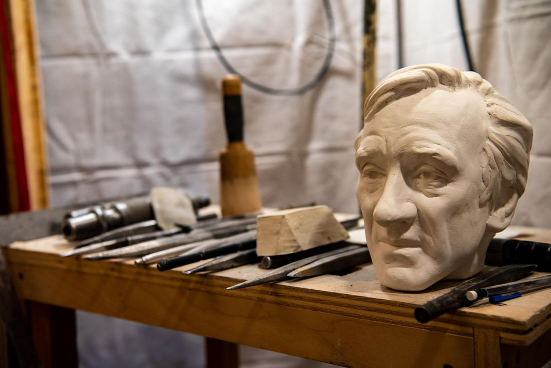 Plaster model of Elie Wiesel sculpture