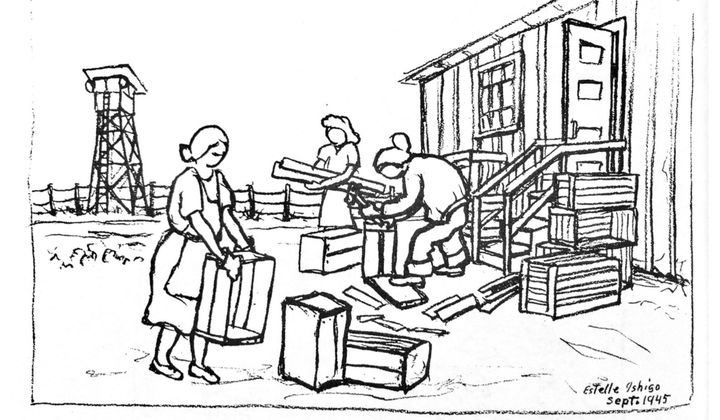 Making crates to leave the camp, September 1945, Heart Mountain, Wyoming. (Illustration by Estelle Ishigo, courtesy Estelle Ishigo Collection, Heart Mountain Wyoming Foundation. Gift of Bacon Sakatani in Memory of Arthur and Estelle Ishigo)