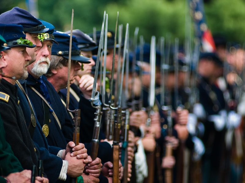 Soldiers In Reenactment Lined Up, Neshaminy, PA