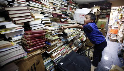 Image: Garbage collector creates library from rescued books
