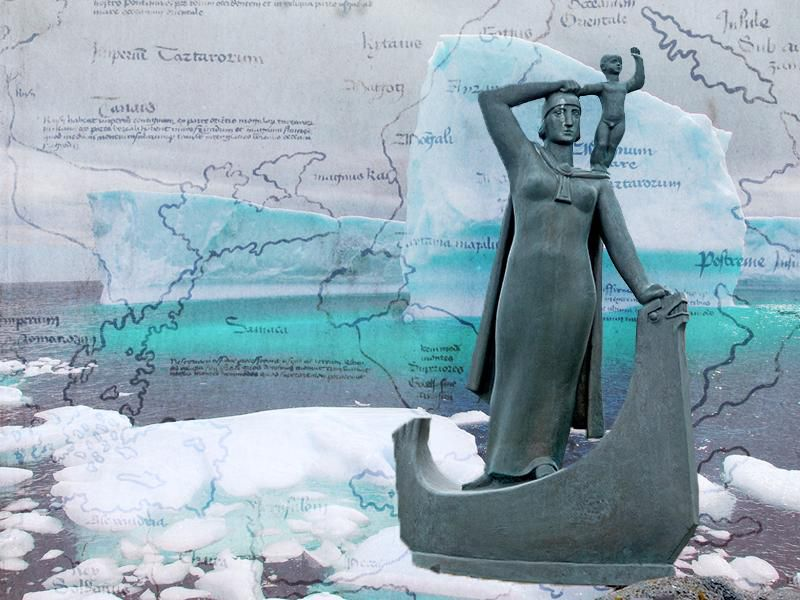 Illustration featuring a statue of Gudrid and her son in front of icebergs and a map of Vinland