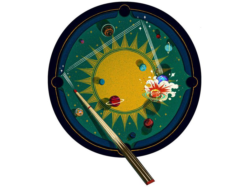 Illustration of sun and planets