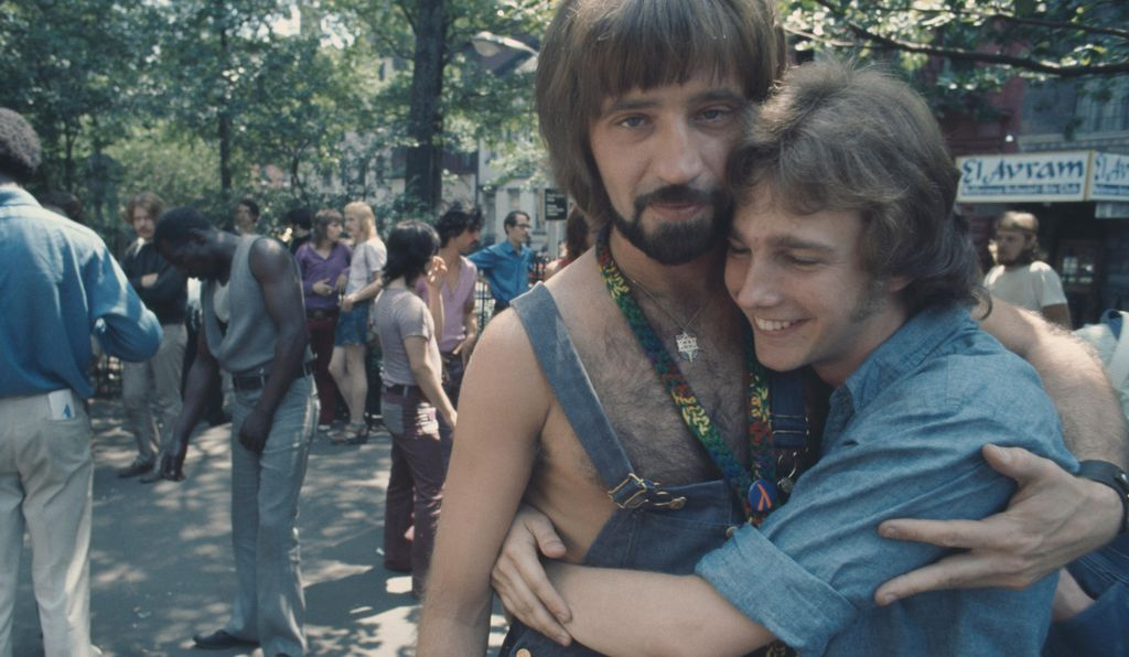 A couple at an LGBT parade through New York City on Christopher Street Gay Liberation Day 1971.