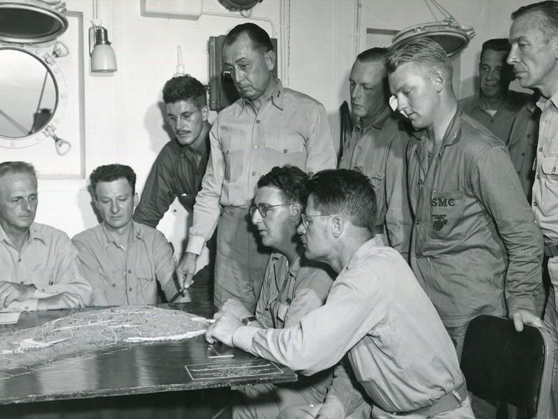 Major General Cates with War Correspondents Aboard Ship, Febraury 1945. Robert Sherrod is second from left.