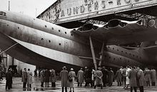 A Rubenesque Princess emerges from a hangar on the Isle of Wight in 1951.