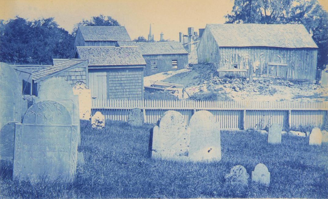 A photograph of a cemetery