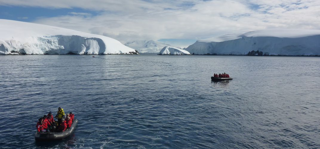 Travelers going out to explore Antarctica.  Credit: Katryn Wiese
