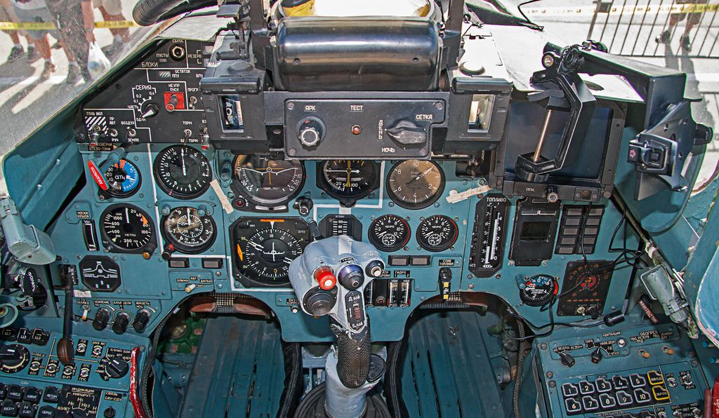 A Ukrainian Su-27 cockpit in 2010. For all their maneuverability, Ukraine's Sukhois lack the modern electronics and missiles that have become standard among frontline fighters.