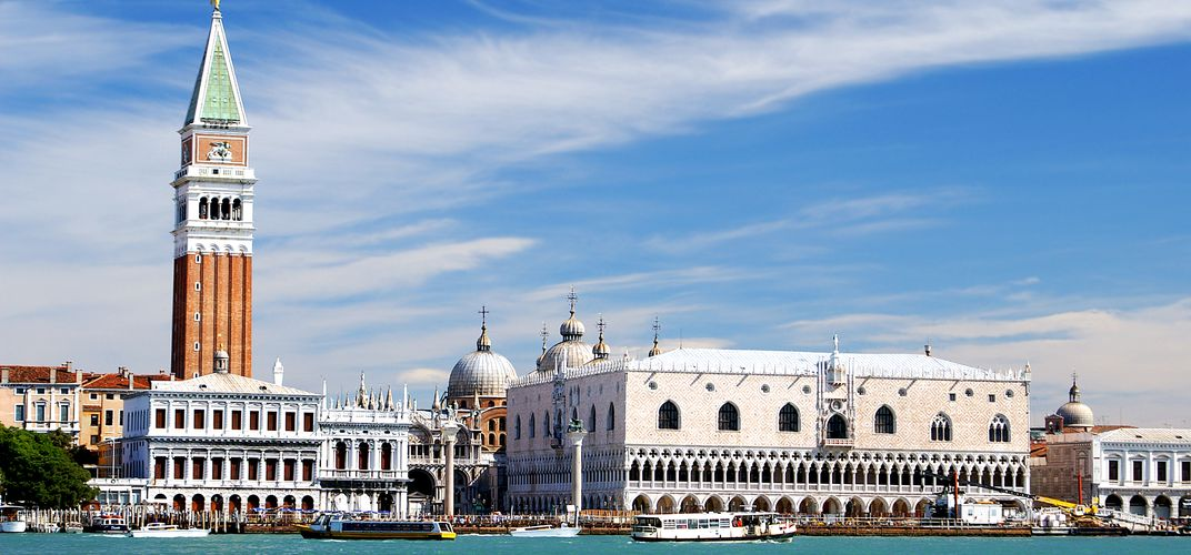 View of the Doge's Palace and Campanile from the canal in Venice
