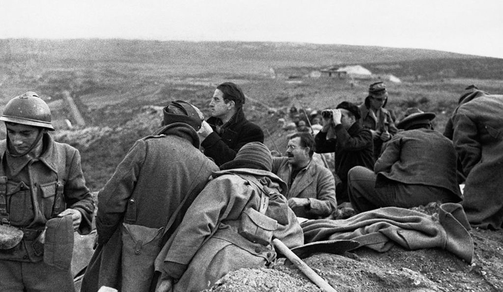Foreign correspondents, artists, musicians and writers got involved in the fight against fascism during the Spanish Civil War. Ernest Hemingway, in the trench, just right of center, was among them.
